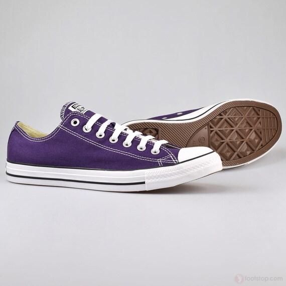 Purple Converse Low Top Eggplant Peel Custom Bling Bridal Wedding Kicks w/ Swarovski Crystal Rhinestone Chuck Taylor All Star Sneakers Shoes