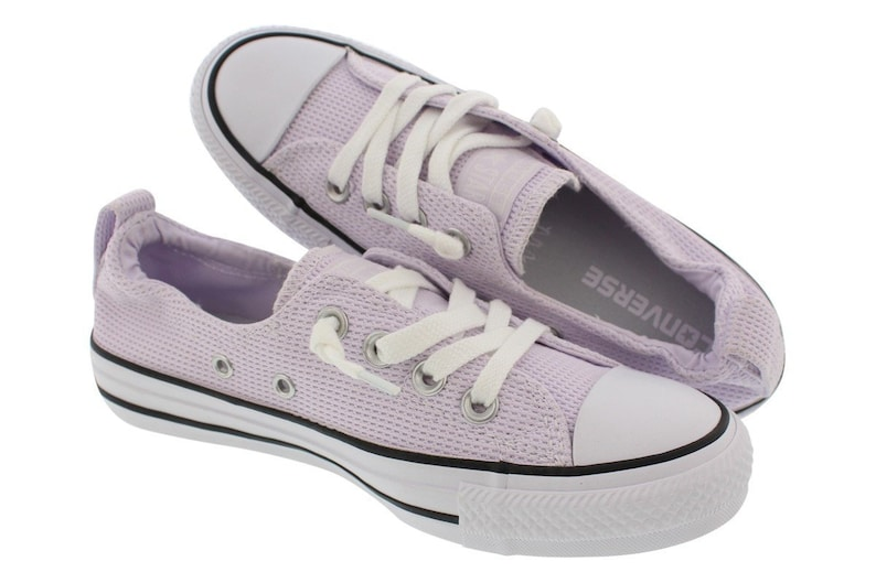a1284817ced543 Purple Converse Slip on Lilac Lavender Grape Shoreline Wedding Boat w   Swarovski Crystal Bling Chuck Taylor All Star Bride Sneakers Shoes