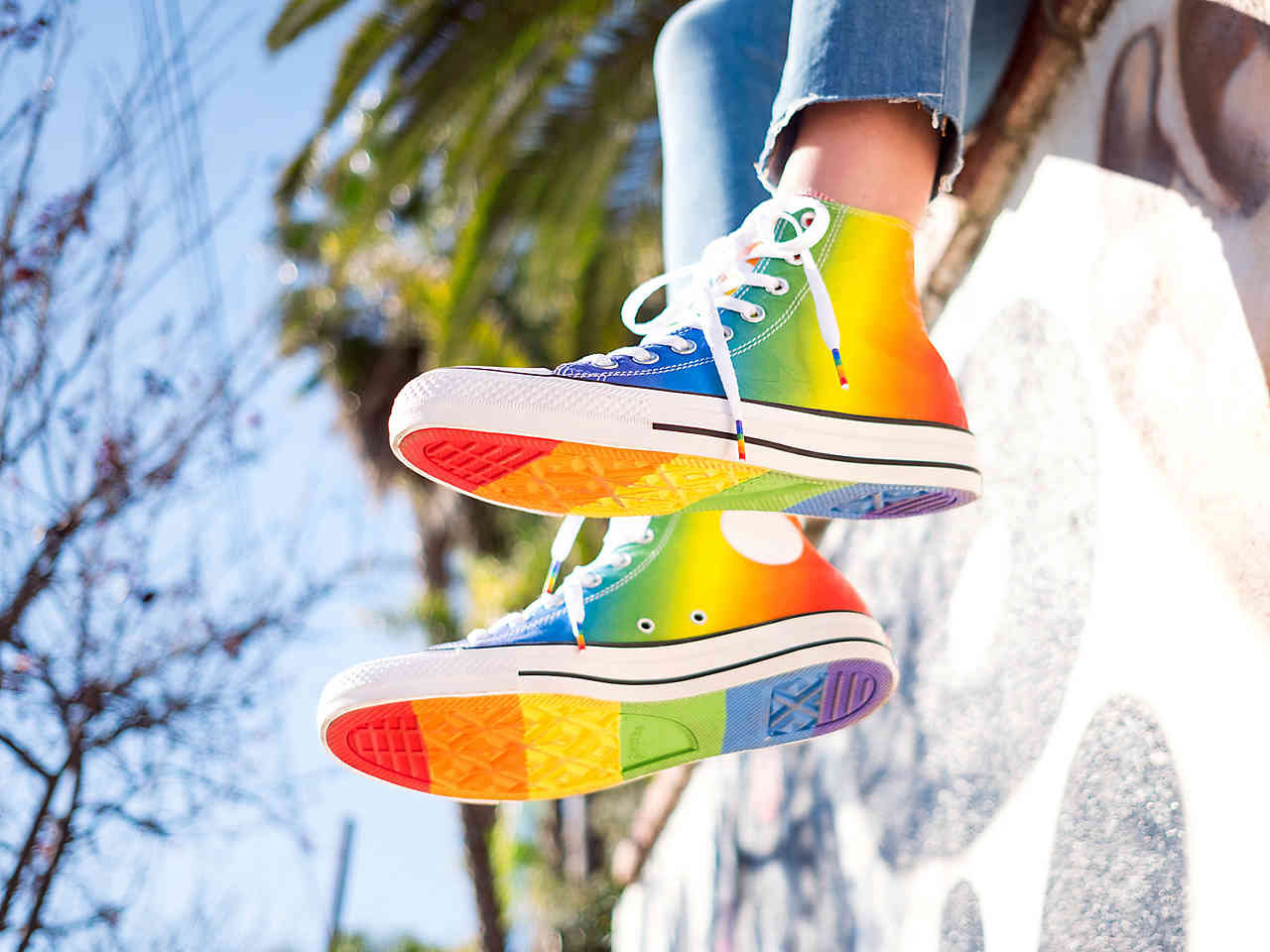Rainbow Converse High Top Ladies US 6 Pride Parade Custom LGTBQ w  Swarovski  Crystal Rhinestone Bling Chuck Taylor All Star Sneakers Shoes 44f406e749