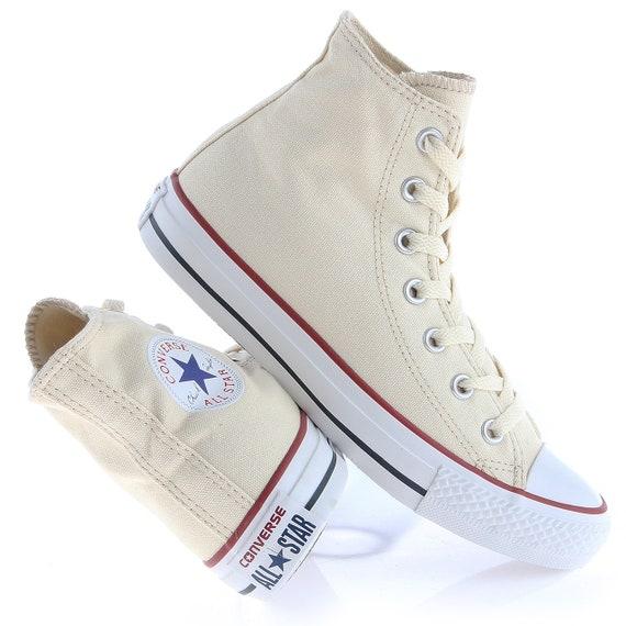 Ivory Converse High Tops Canvas Cream Off White Beige w/ Swarovski Crystal Rhinestones Chuck Taylor All Star Bridal Sneakers Wedding Shoes