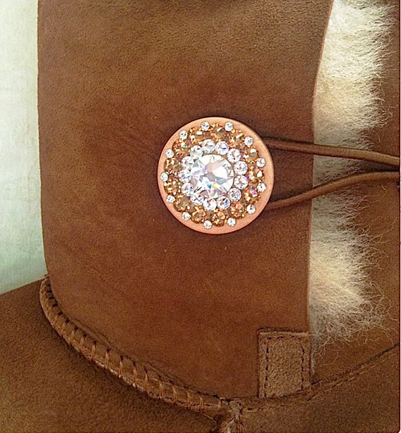Custom.UGG Mini Bailey Button Boots Australia Classic Short Slip on Boot w/ custom Swarovski Bling Buttons Winter Rhinestone Lady Shoes Gift