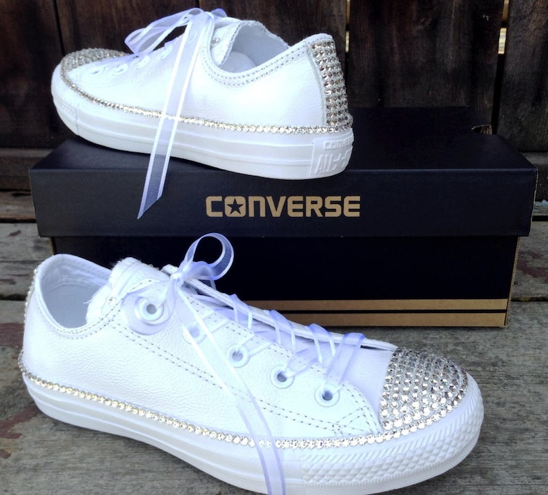 b8c03b045cfc Leather White Wedding Converse Low Top Full Bling Crystal