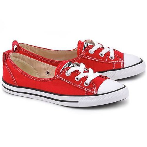Red Converse Slip on flat Low Top