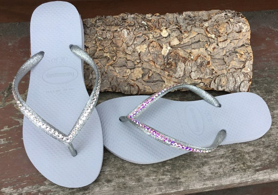 Light Gray Havaianas Slim Flip Flops Silver Glitter Grey w/ Swarovski Crystal AB Jewels Bling Sandals Rhinestone Beach Wedding Bridal Shoes