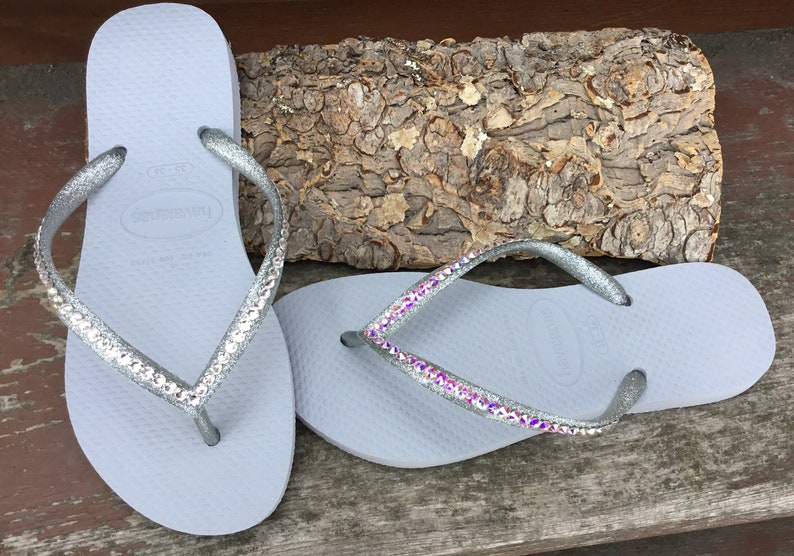 1e74a85ba51d2 Light Gray Havaianas Slim Flip Flops Silver Glitter Grey w/ Swarovski  Crystal AB Jewels Bling Sandals Rhinestone Beach Wedding Bridal Shoes