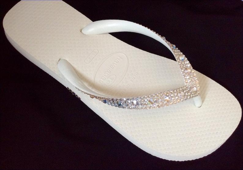 3fcbe5e29b944d White Wedding Flip Flops w  Swarovski Crystal Moonlight Ivory