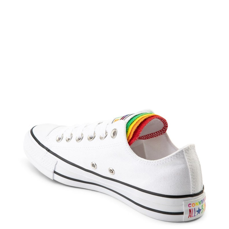 Bianco Converse Canvas Low Top Multicolor Rainbow Lingua w/ mLSIgAQh