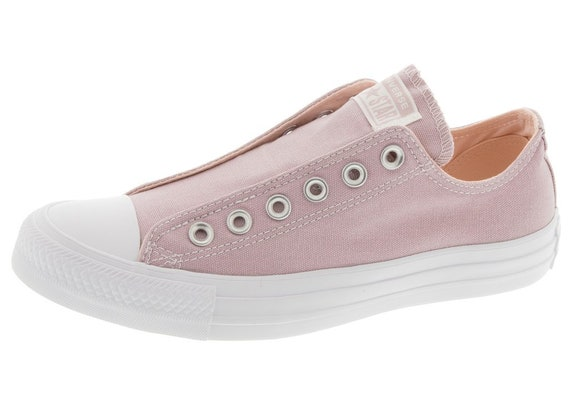 Pink Slip on Converse Coral Blush Plum Laceless Kicks w/ Swarovski Crystal Rhinestone Wedding Reception Chuck Taylor Bride Sneakers Shoes
