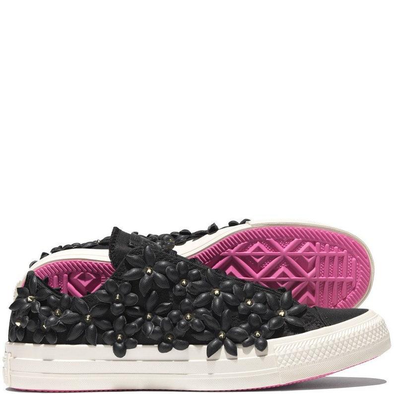 82412ae29b7b Pat Bo Converse Leather Floral Laser Black Pink Low Top