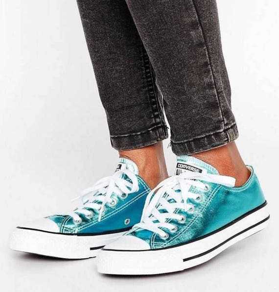 Blue Converse Low Top Turquoise Teal Aqua Metallic Chuck  431c42d514b7