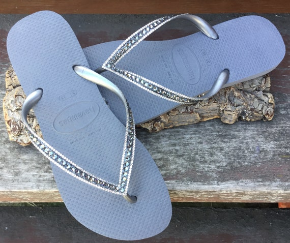c71216b78252 ... Wedding shoes  99.99 Gray Flip Flops Havaianas Slim Silver Seal Steel  Grey Charcoal w  Swarovski Crystal Sophisticate Sandals