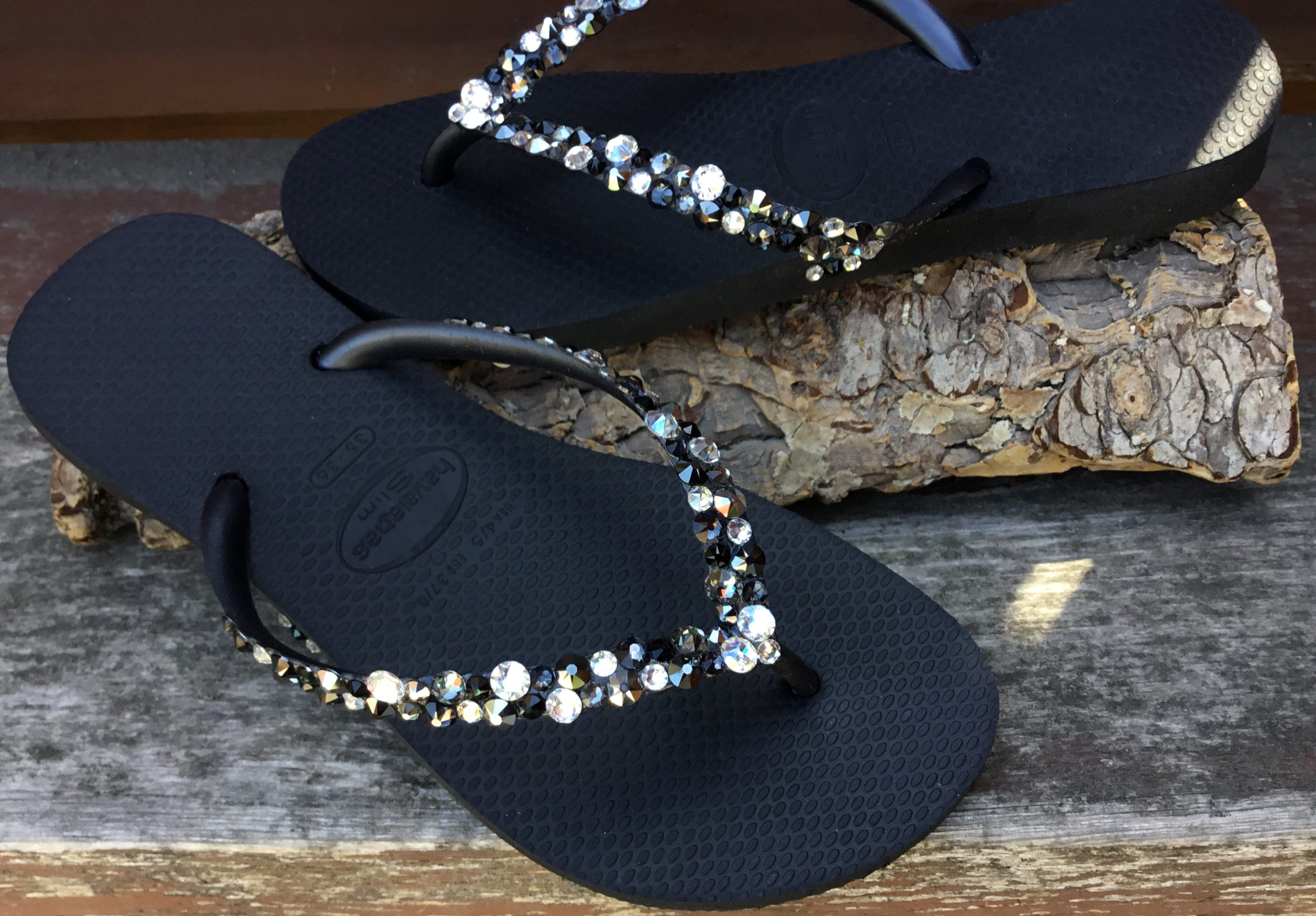 66058fc93d57c Black Flip Flops Silver Blue Crystal Havaianas Slim Beach Glass w ...