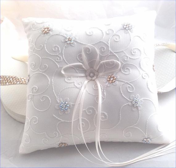 Wedding Ring Pillow Rings Bearer Ceremony w/ Custom Swarovski Crystal Rhinestone Flower Jewels White or Ivory Bridal Satin Ribbon Lace Gift