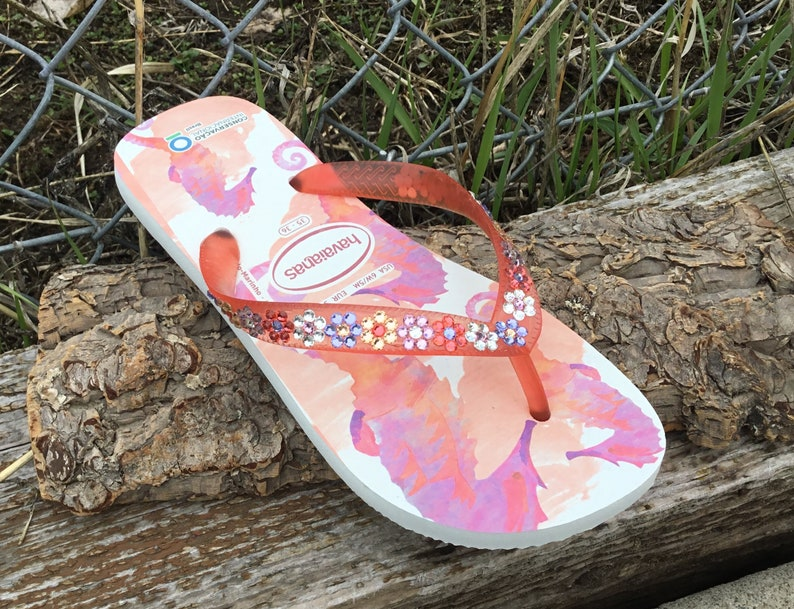 f82d9a868 Pink Coral Havaianas Flip Flops Seahorse Conservation Crystal