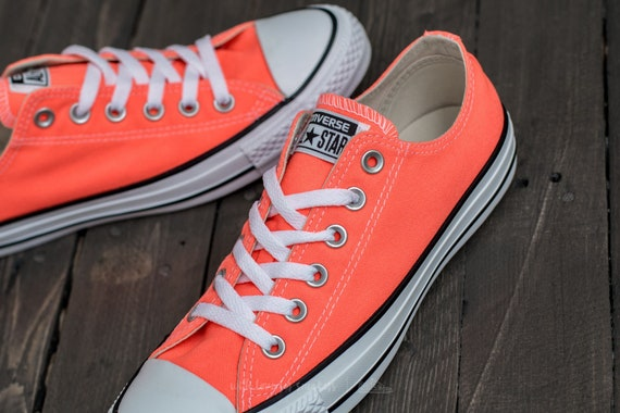 476f9a31b479 Orange Converse Hyper Red Neon Canvas Low Top Wedding Kicks