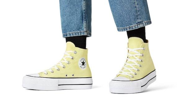 Light Yellow Converse Lift Platform Bride heels Pale Butter Custom w/ Swarovski Crystal Bling Chuck Taylor All Star Wedding Sneakers Shoes