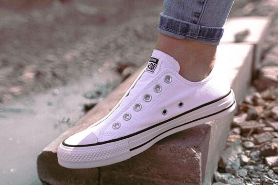 Slip on White Converse Ladies Laceless Kick w/ Swarovski Crystal Bling Rhinestone Wedding Reception Chuck Taylor All Star Bride Sneaker Shoe