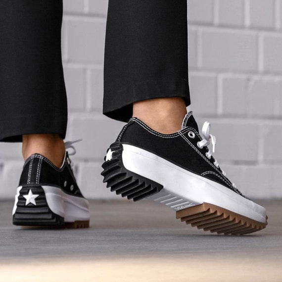 Converse Run Star Hike Low Top Black White Platform Wedge Club Kick w/ Swarovski Crystal Rhinestone Chuck Taylor All Star Sneakers Shoes