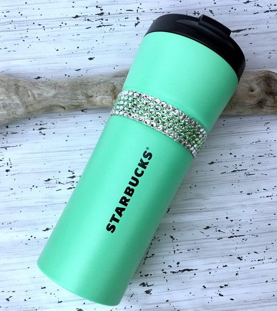 Starbucks Green Stainless Steel Cup Swag w/ Swarovski Mint Seafoam Crystal 16 oz Grande Large Tumbler Travel Coffee Tea Cup Rhinestone Gifts