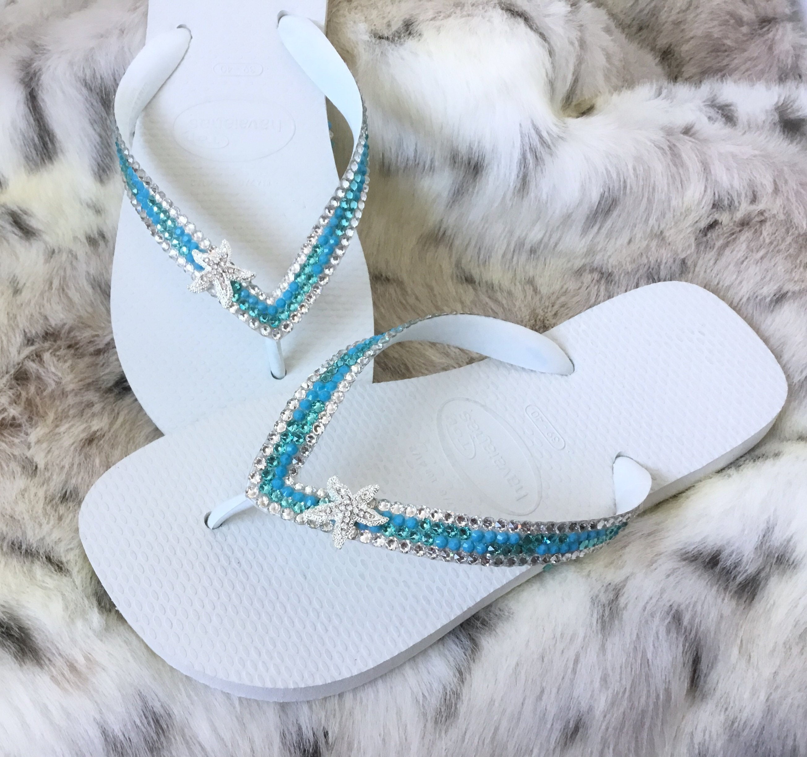 79741d592555 Silver Starfish Crystal Flip Flops Mint Green Sea Foam Turquoise Blue Aqua  Havaianas flat or Wedge Heel w  Swarovski Wedding Slip on Shoes