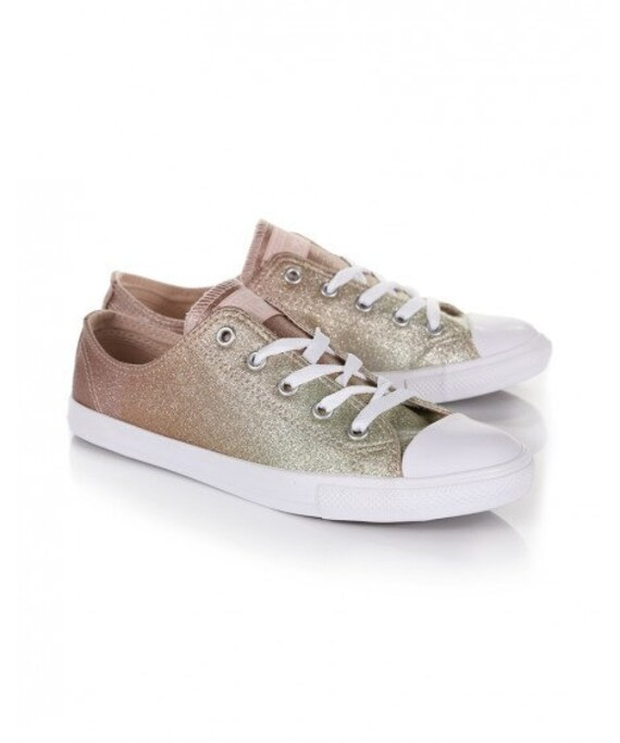 Gold Converse Dainty low Slip ons Glitter Pink Chuck Taylor Metallic w/ Swarovski Rhinestones Crystal Ombre All Star Bridal Sneakers Shoes
