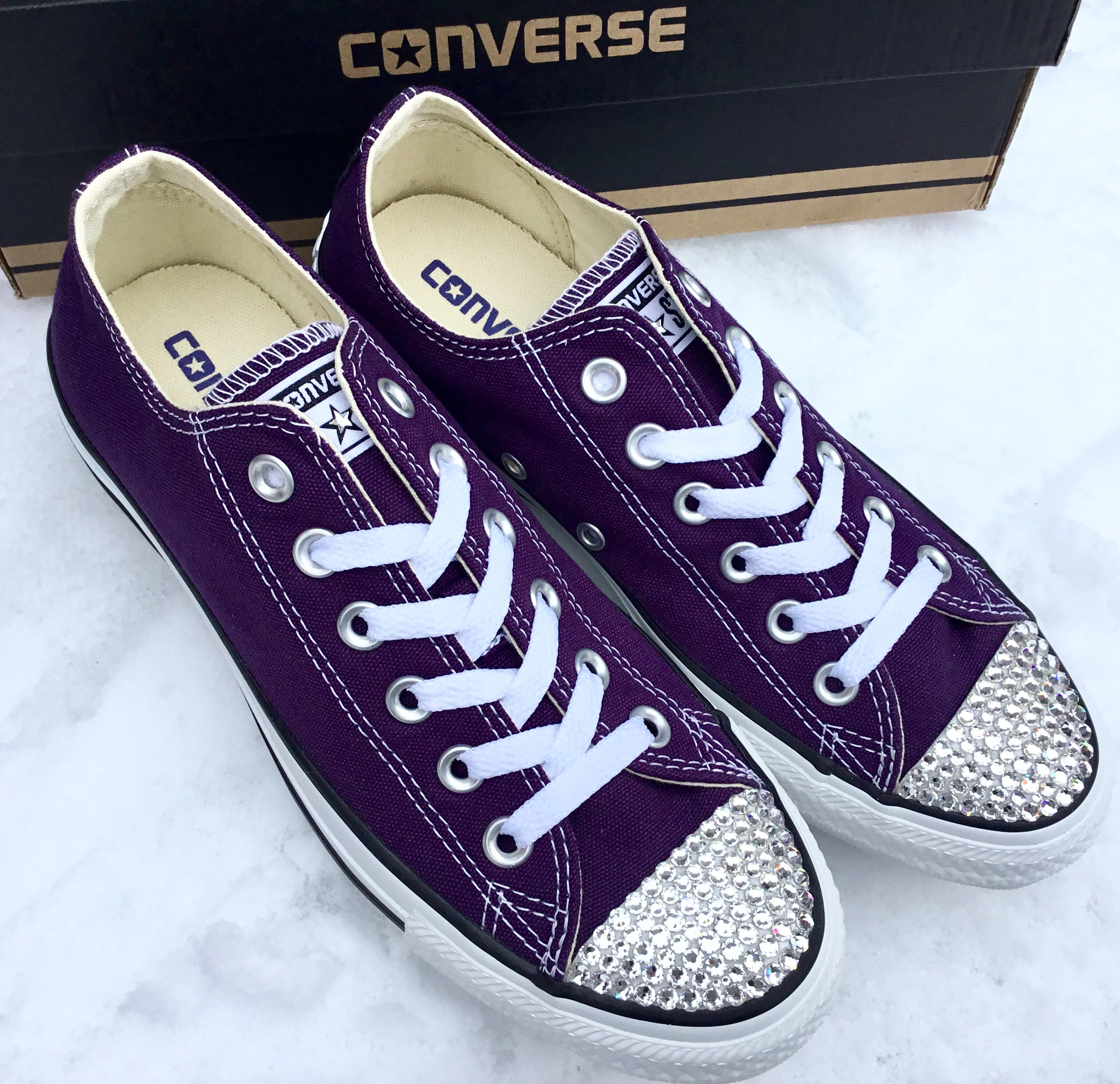 774a3795450 Purple Converse Low Top Eggplant Peel Custom Bling Bridal Wedding Kicks w  Swarovski  Crystal Rhinestone Chuck Taylor All Star Sneakers Shoes