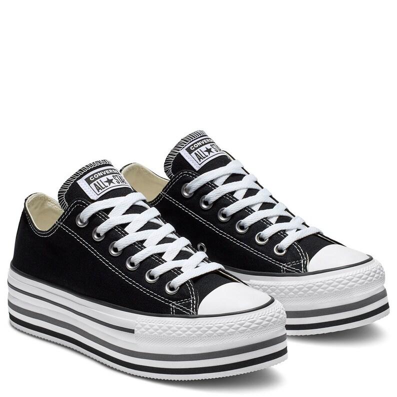 2c60468975953 Black White Converse Super Lift Platform layer wedge Canvas Low Club w/  Swarovski Crystal Rhinestone Chuck Taylor All Star Sneakers Shoes