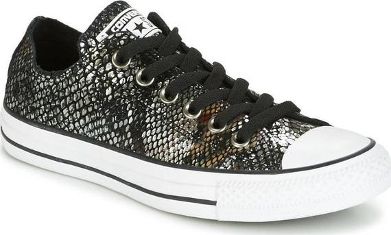 Snake print Converse Low Reptile Sneakers Leather Black Silver Metallic w/ Swarovski Crystal Rhinestone Chuck Taylor All Star Trainer Shoes