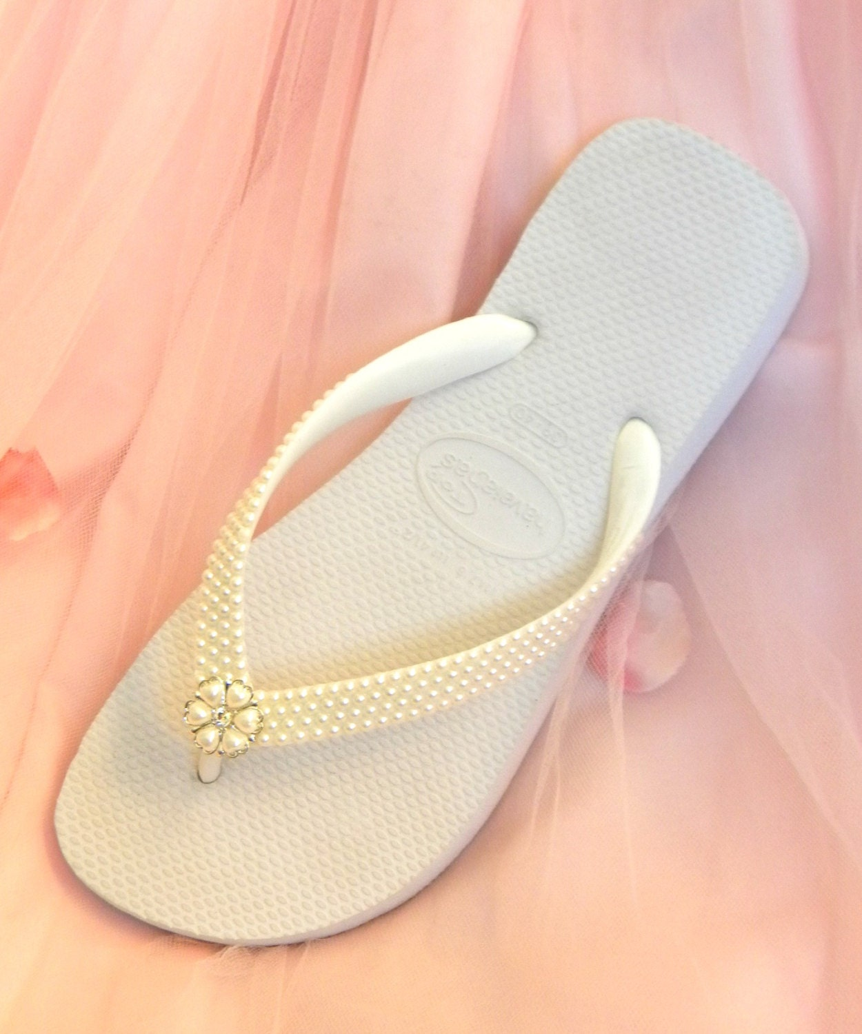 a19395d8f Ivory Wedding Flip Flops White Pearls Silver Rock w  Swarovski Crystal  Beach Havaîanas Flat Cariris Wedge Heel Bridal Bridesmaid Thong Shoes
