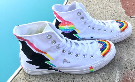 Rainbow Converse White Pride Parade LGBTQ Mens Multicolor Hi Glitter Lightning Bolt Chuck Taylor w/ Swarovski Crystal All Star Sneaker Shoe