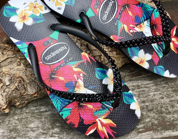 Black Havaianas Slim flat Pearl Crystal Flip Flops Aloha Hawaii Flowers Tropic w/ Swarovski Rhinestone Jewel Custom Bling Beach Slip on Shoe