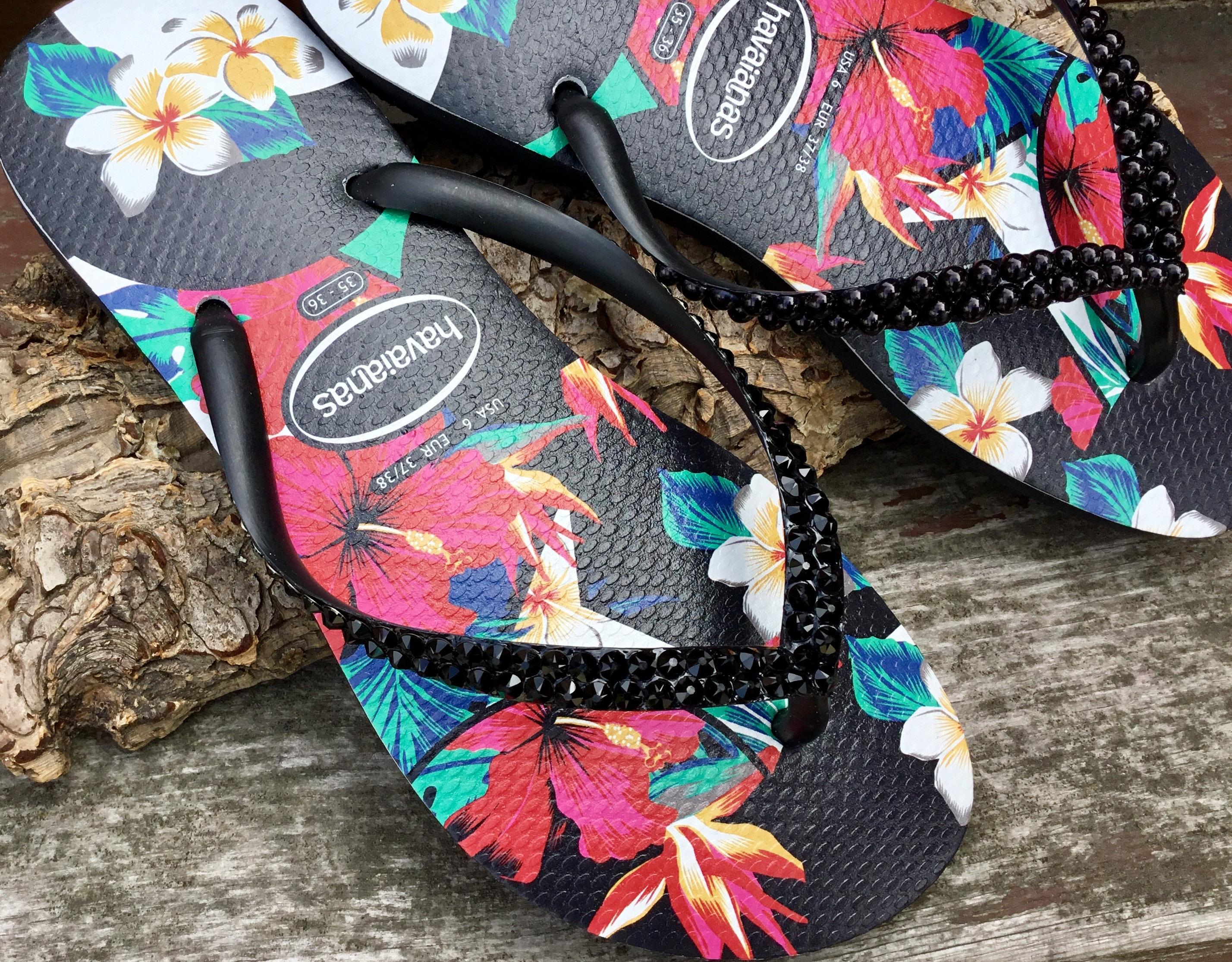 ea95a015b9d83 Black Havaianas Slim flat Pearl Crystal Flip Flops Aloha Hawaii Flowers  Tropic w  Swarovski Rhinestone Jewel Custom Bling Beach Slip on Shoe