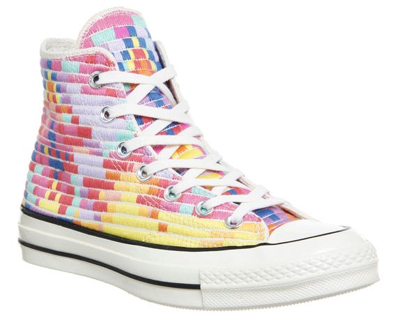 Rainbow Converse High Top 70s W US 8 Mara Hofman Quilted Knit Embroidery w/ Swarovski Crystal Rhinestone Chuck Taylor All Star Sneakers Shoe