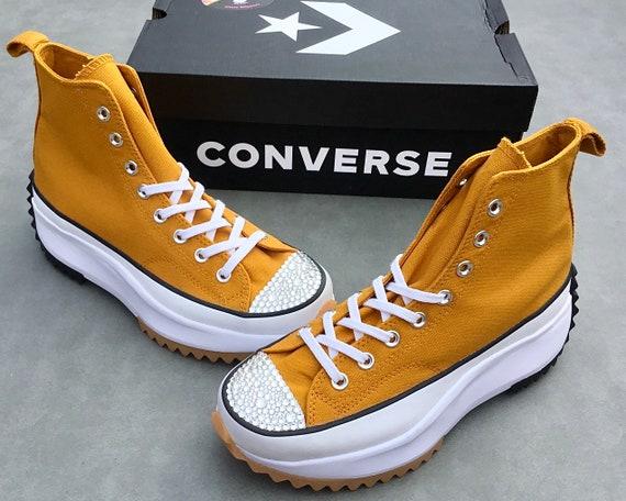 Converse Run Star Hike Gold Saffron Mustard Yellow Boot Platform High Kicks w/ Swarovski Crystal Rhinestone Chucks All Star Sneakers Shoes