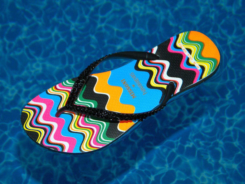 f3315f5a4 Missoni Havaianas Slim Flip Flops Rainbow Zig Zag Wave Collector RARE US 6  7 Brazil 37 38 Custom w  Swarovski Crystal Rhinestone Gem Shoes