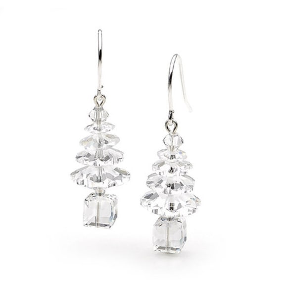 Crystal Clear Christmas Tree Star Earrings Winter Drop Dangles Silver Titanium Metal Hypo w/ Swarovski AB Beads Holiday Jewelry Gifts sets