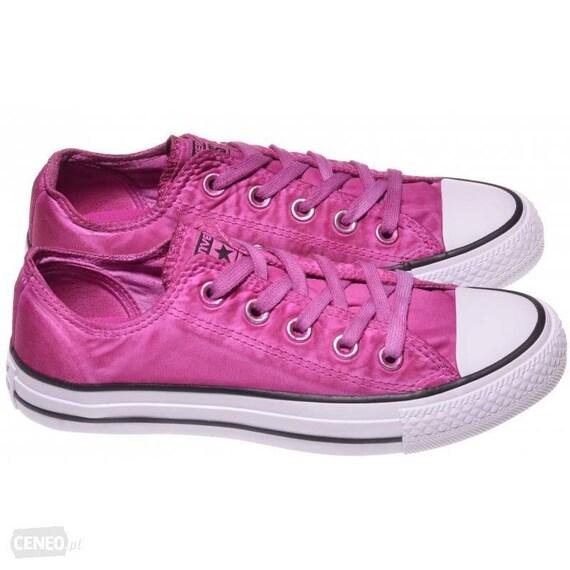 Pink Satin Converse Fuchsia Magenta Low Wash Custom w/ Swarovski Crystal Bling Rhinestone Chuck Taylor All Star Wedding Sneakers Bride Shoes
