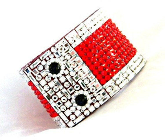 "Leather Bracelet Red Black Napoleon French Cuff CrystalJewelry 2"" Wide w/ Swarovski Rhinestone Jewels Dinner Cocktail Wrap Wrist Accessory"