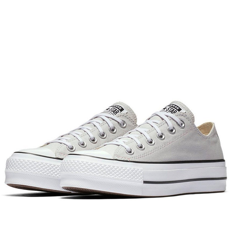 ff26f5d876ee0 Gray Converse Platform lift heels wedge White Grey Canvas Low Top Club w/  Swarovski Crystal Rhinestone Chuck Taylor All Star Sneakers Shoes
