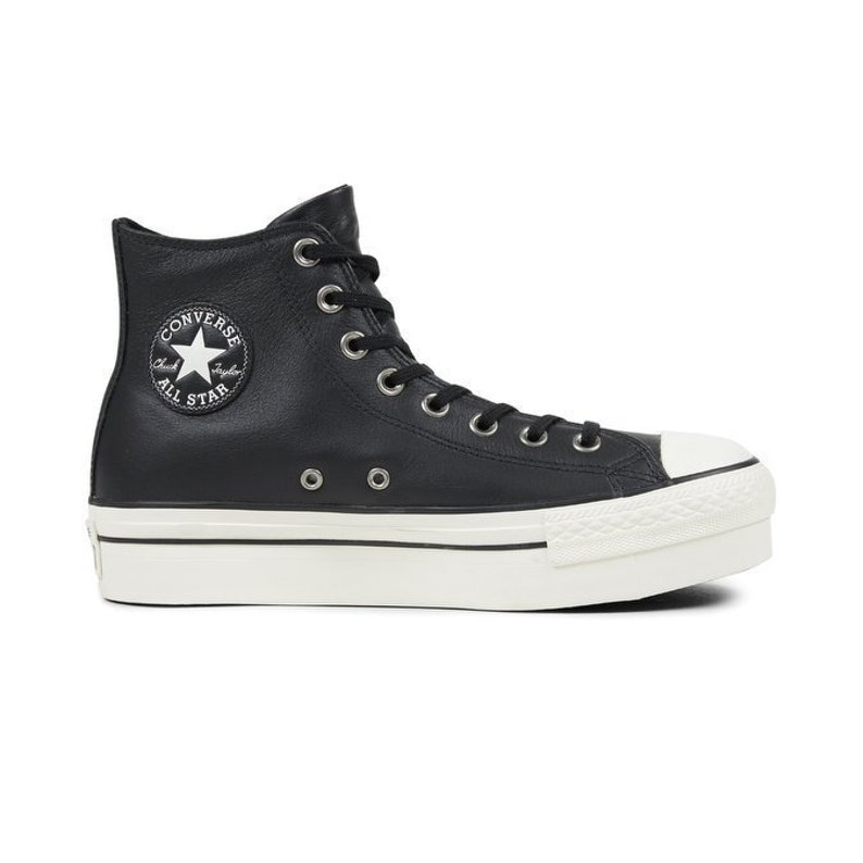 646e3c766b3e Black Converse Platform Leather High Top Wedge Club Kicks