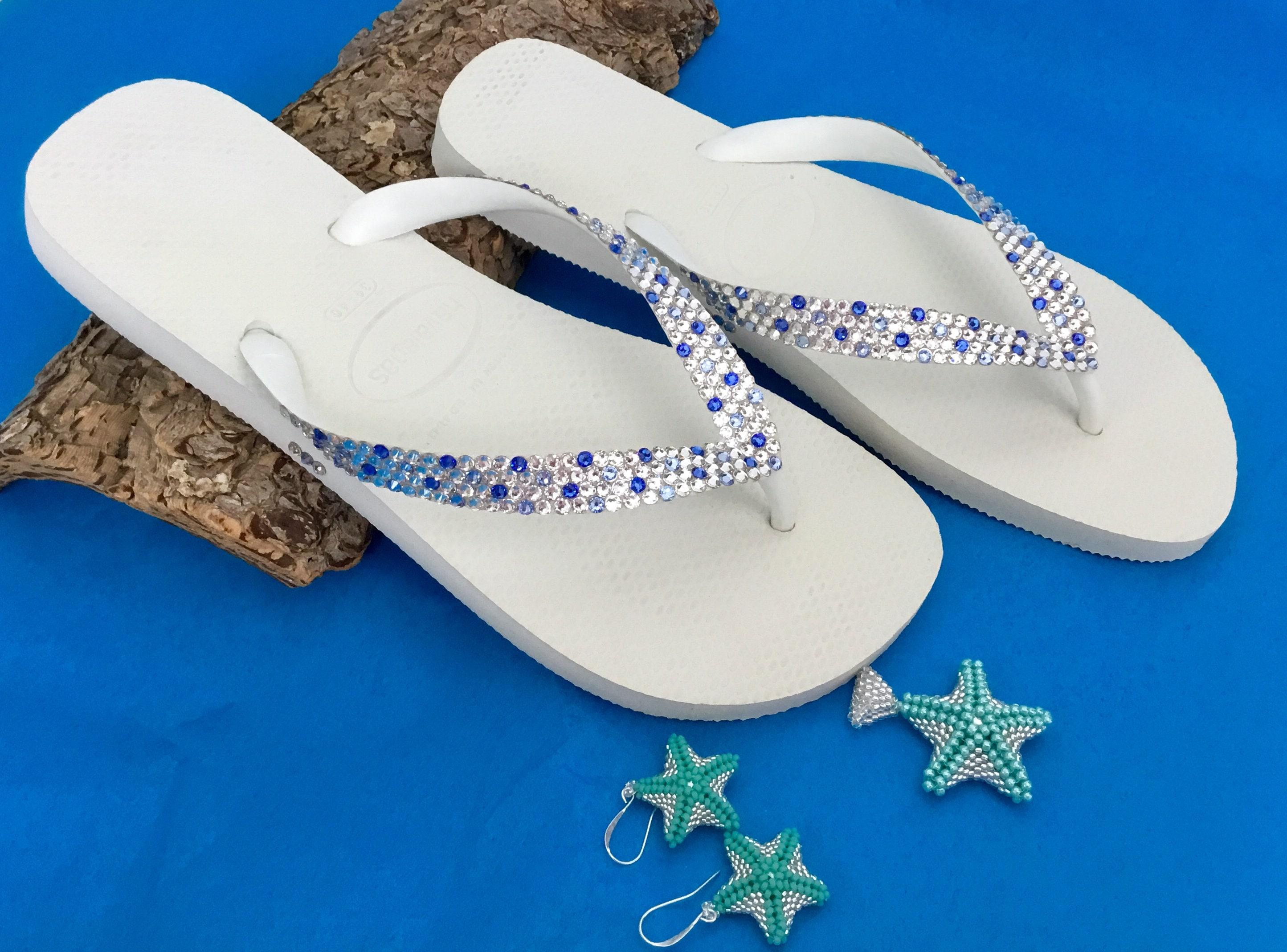 1519a5f670ac7 Beach Wedding Confetti Crystal Flip Flops Custom w  Swarovski Rhinestones  Bridal Havaianas flat or Cariris Wedge Heels Bling Reception Shoes