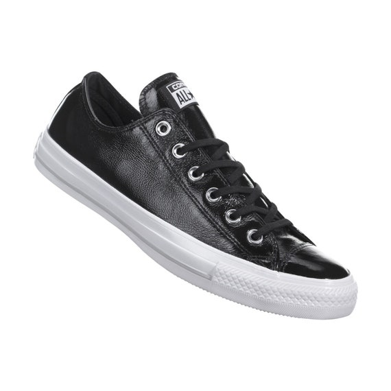 Black Patent Leather Converse Low Top Wedding w/ Swarovski Rhinestone Crystal Bling Bride Chuck Taylor All Star Bride Sneakers Trainers Shoe