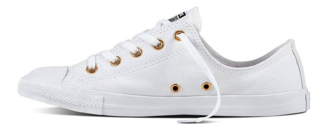 White Converse Dainty W US 9.5 Low Gold Mono Canvas Chuck Taylor Custom w/ Swarovski Crystal Rhinestones Bling All Star Wedding Sneaker Shoe
