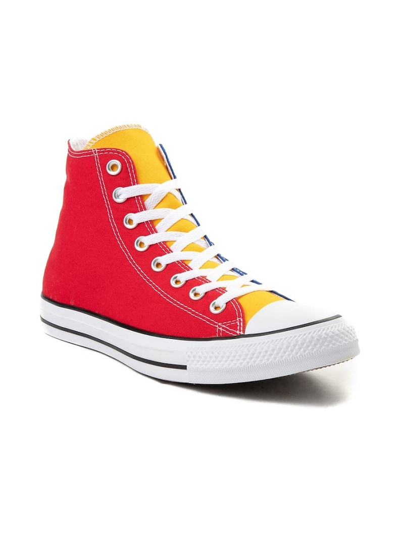 Rainbow Converse Multicolor High Tops Canvas Blue Green Red Yellow Chuck Taylor w Swarovski Crystal Jewel All Star Sneakers Basketball Shoe