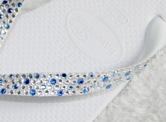 Wedding Confetti Crystal Flip Flops Custom w/ Swarovski Rhinestones Bridal Beach Havaianas flat or Cariris Wedge Heels Bling Reception Shoes