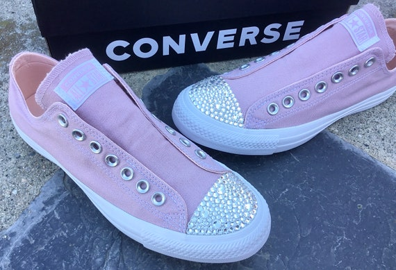 Plum Pink Slip on Converse Coral Blush Laceless Kicks w/ Swarovski Crystal Rhinestone Wedding Reception Chuck Taylor Bride Sneakers Shoes