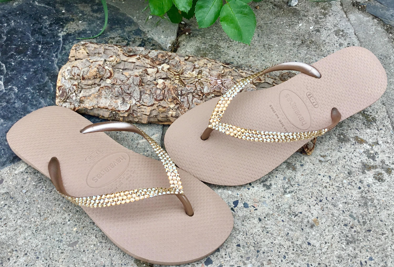 7fb1eab8241a1 Rose Gold Flip Flops Custom Crystal Flat Havaianas Metallic Bridal w ...