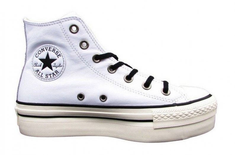 2ca8f3b4be9e White Platform Converse leather Wedge High Top Lux Club Kicks