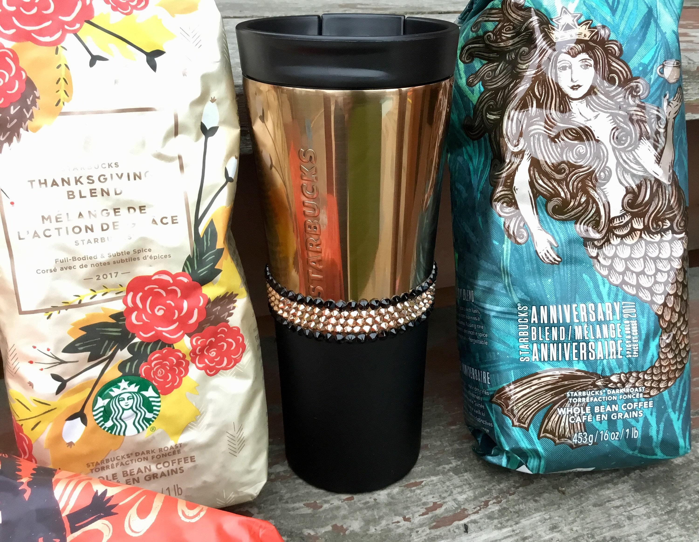 Rose Gold Stainless Steel Starbucks Cup Tumbler Swag W Swarovski Copper Crystal 16 Oz Grande Holiday Travel Coffee Tea Mug Rhinestone Gift