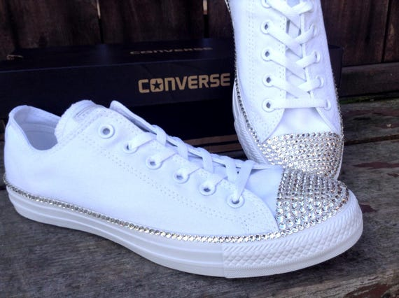 Canvas White Wedding Converse Low Top Bling Crystal Bridal Date Custom w/ Swarovski Rhinestone Jewel Chuck Taylor All Star Sneakers Shoes